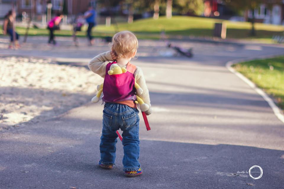 Toddler baby wearing in Ottawa with monkey.