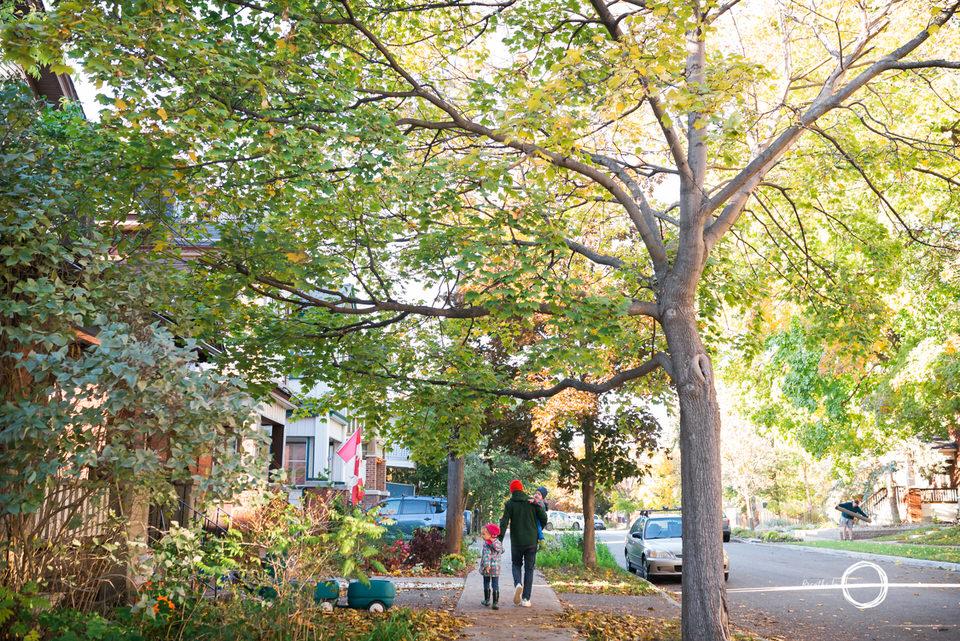 Ottawa family walking down the street.