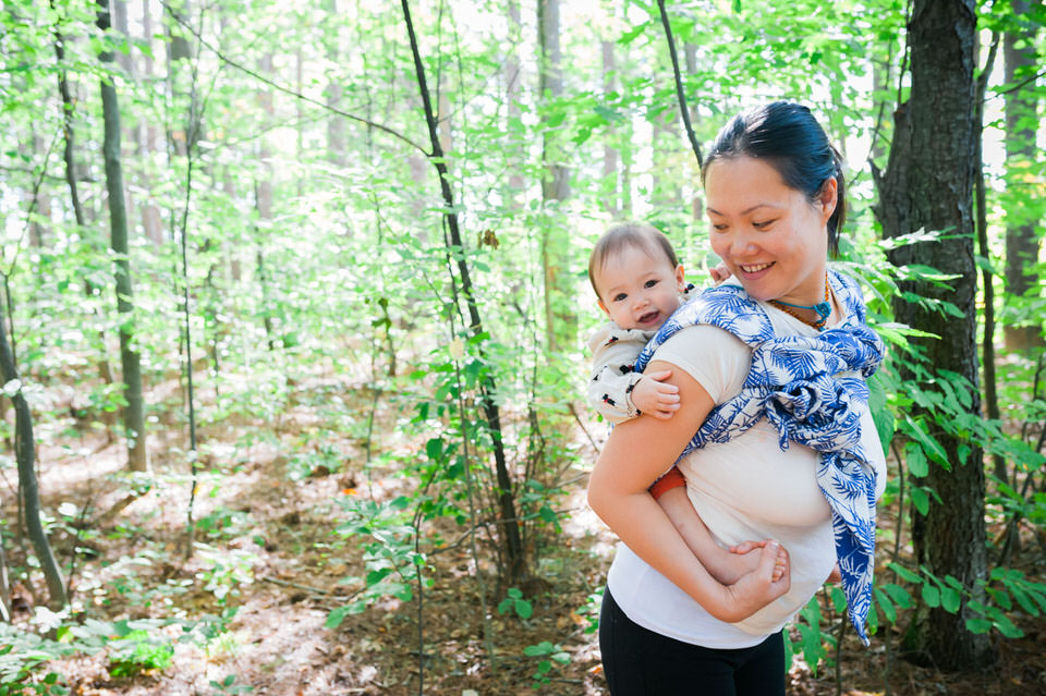Babywearing in Artipoppe Wrap at Mer Bleu