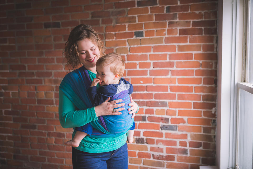 Babywearing handwoven wrap in Byward Market Mini Session