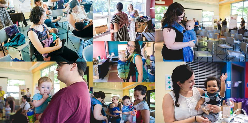 Photos of women and families babywearing and breastfeeding in Ottawa during Latch on Event.