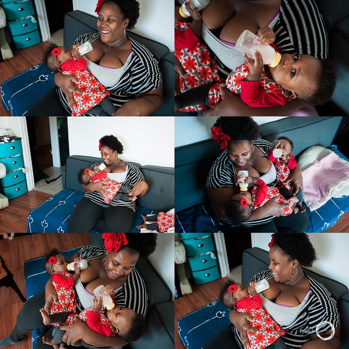A collage of mom and her daughters feeding and looking at each other in their home in Ottawa during photo session.
