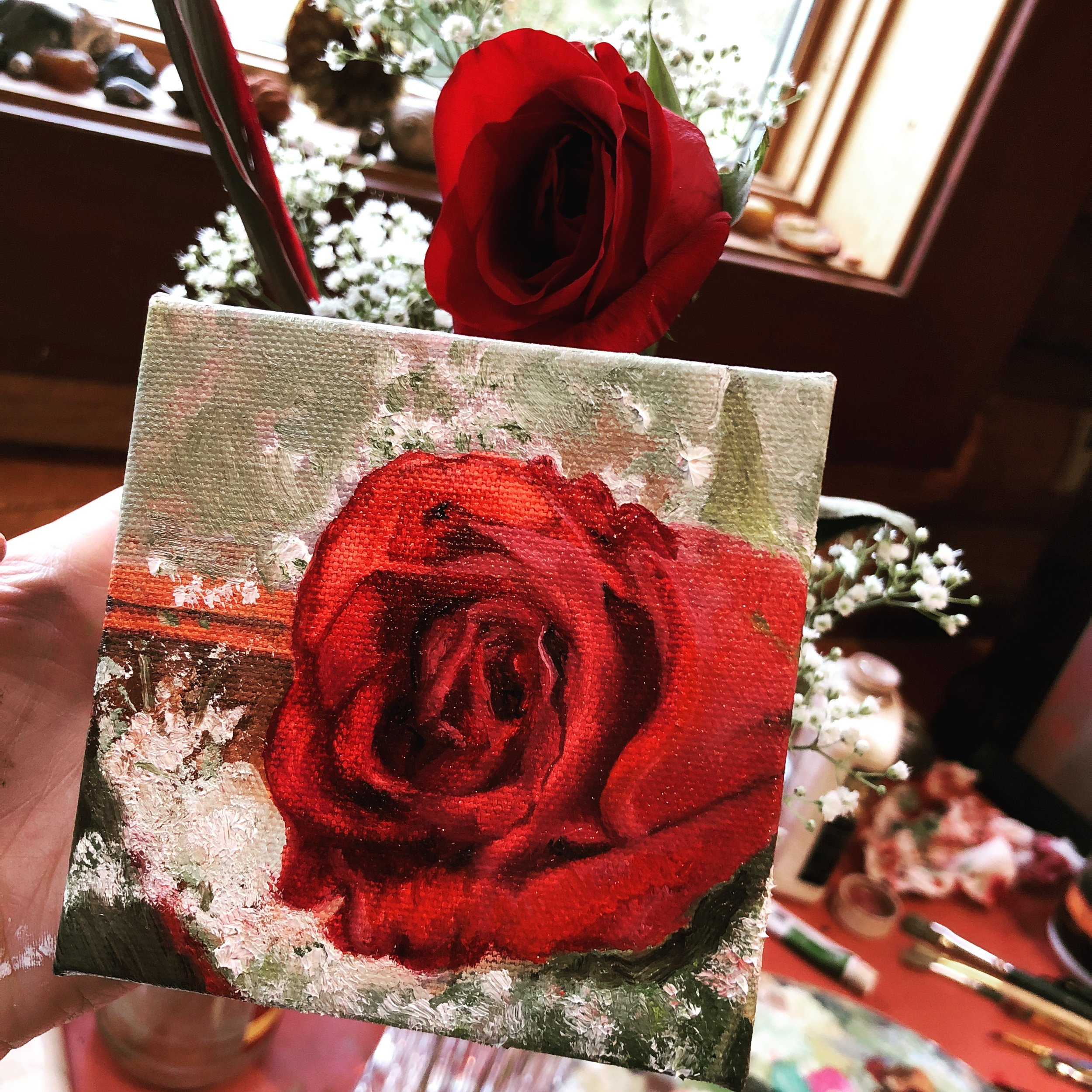 Happy Valentines Day! Here is an oil painting from real life looking at a rose for three days and continuing to paint it wilted. Maybe this represents loving something real.