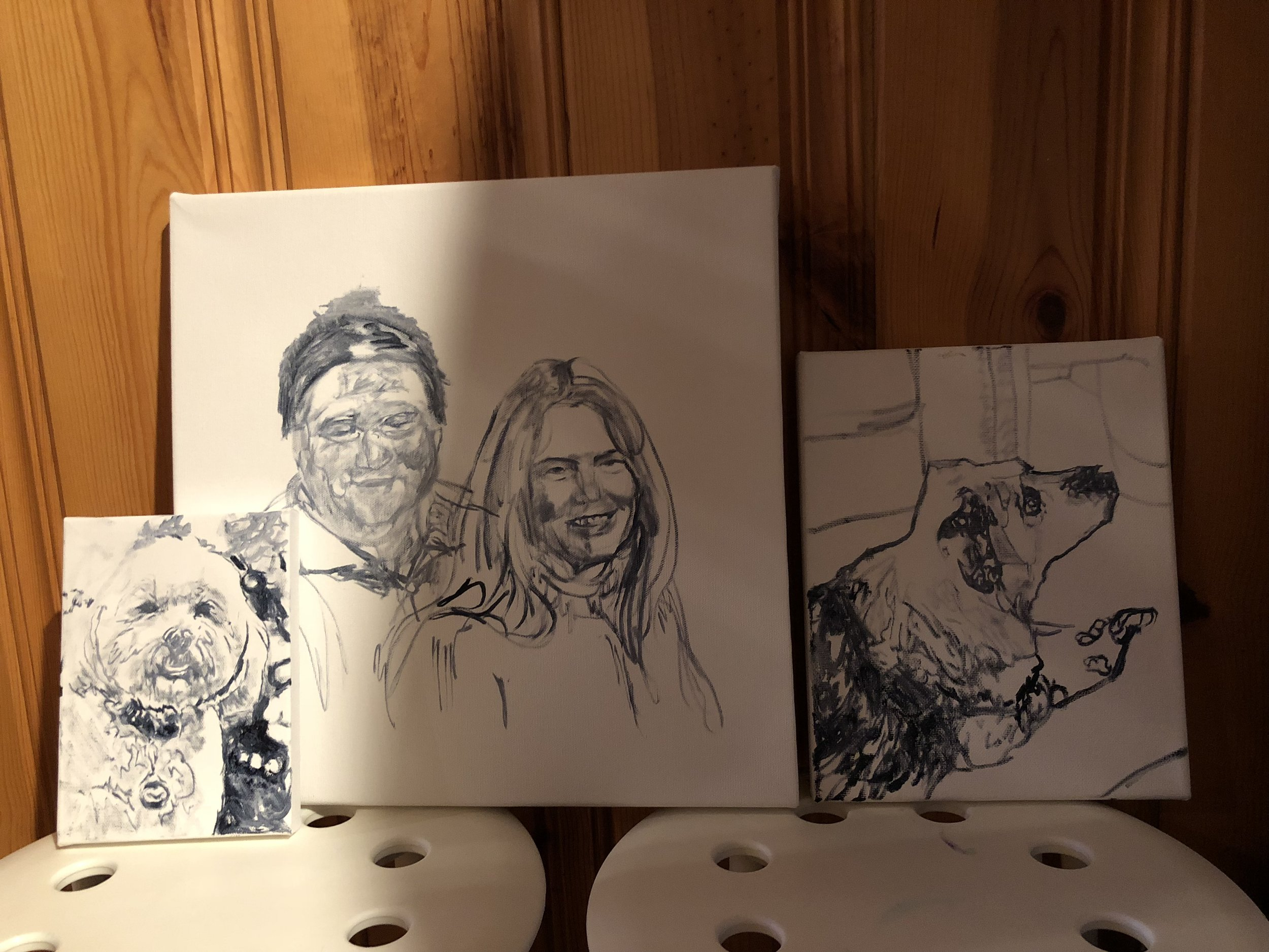 I melded two faces at different angles and ages for the person on the left's portrait. I'll be adding an elk, Mt. Rainier, and buoys in the Puget Sound around them.