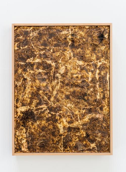 """Untitled,  2016. Ignited gunpowder, gold leaf,acrylic copolymer, on panel. 9""""x12"""""""