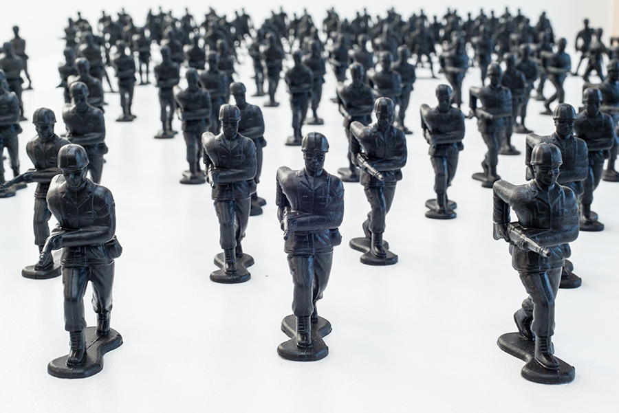 "Installation View, detail. Toy soldiers, aerosol paint, 4""."