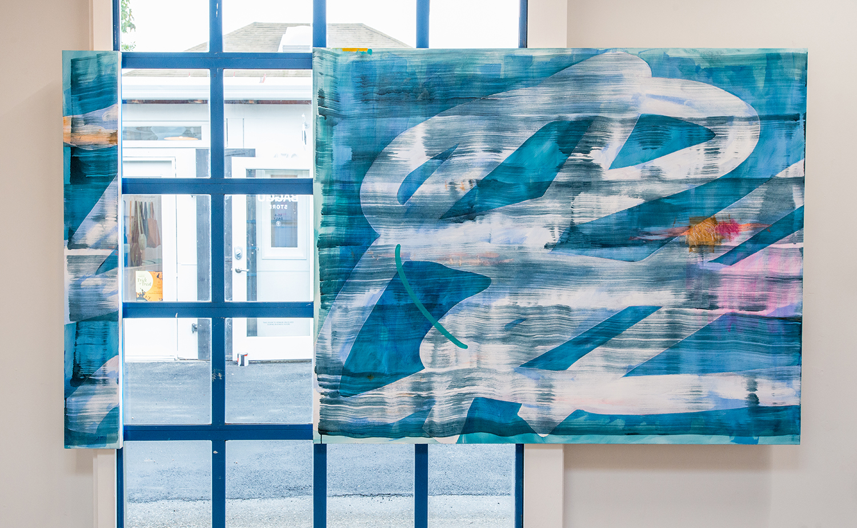 "Deep End  Acrylic and dye on canvas, Plexiglas.    54"" x 67"" and 54"" x 7 ½""   2016"