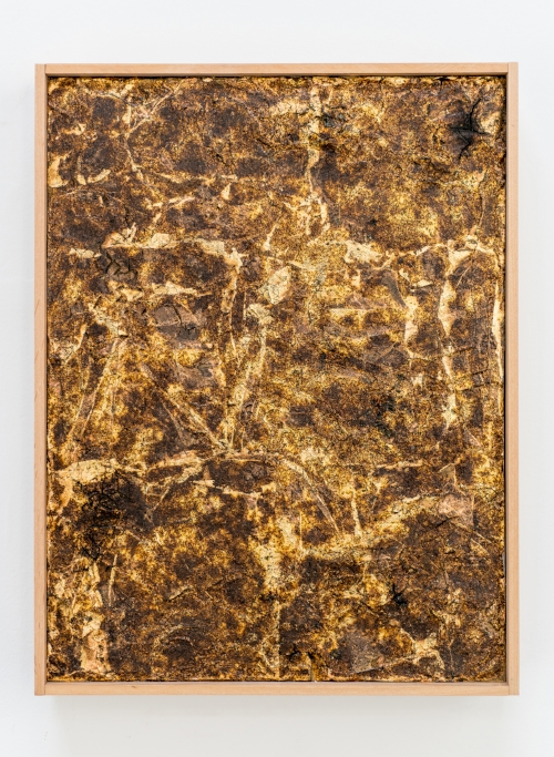 "Carolyn Jean Martin, Untitled, 2016. Ignited gunpowder, gold leaf, acrylic copolymer, on panel. 9""x12"""