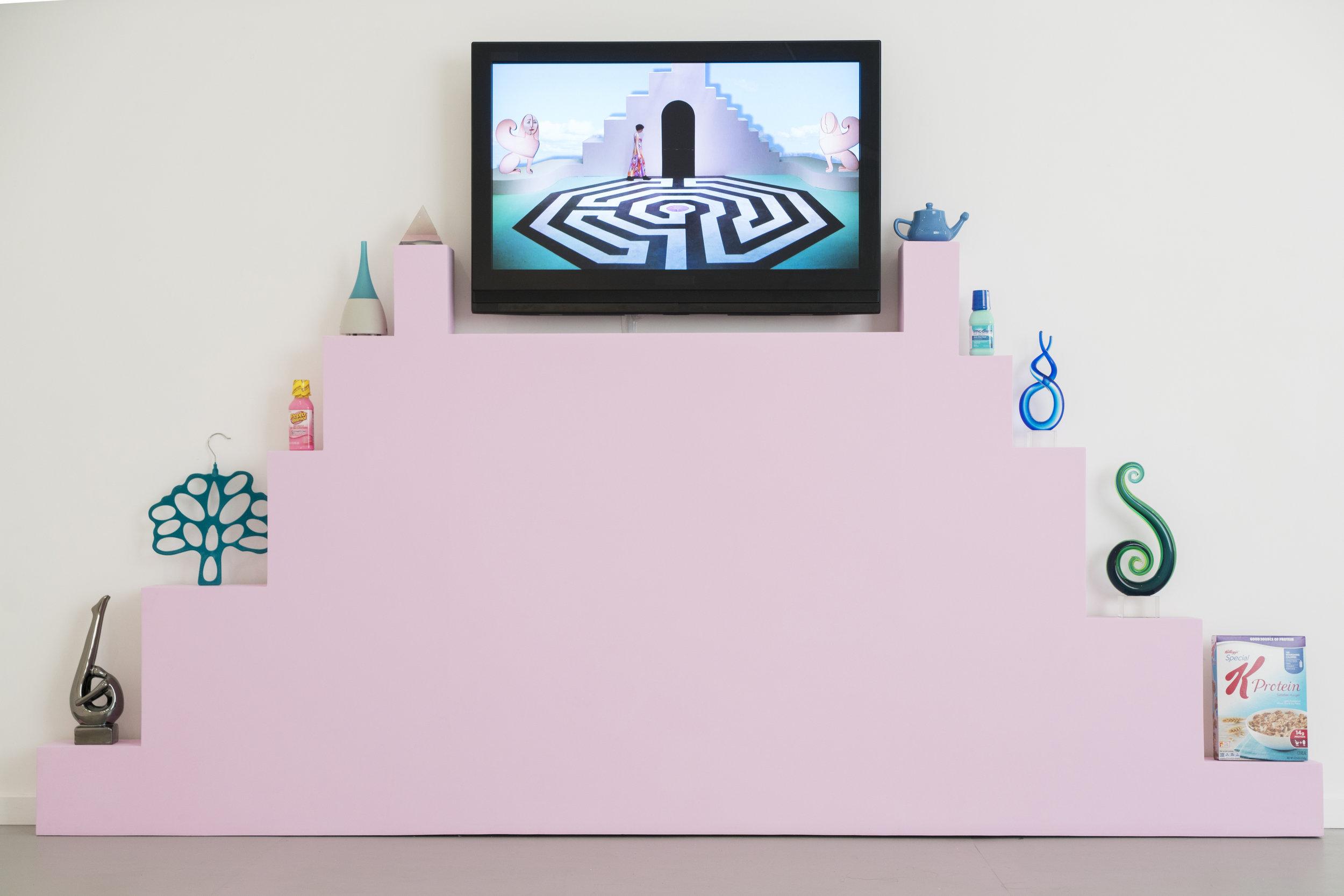 Shana Moulton  Every Angle is an Angel , 2016. Digital Video, 6m19s, wood, house paint, sourced objects.