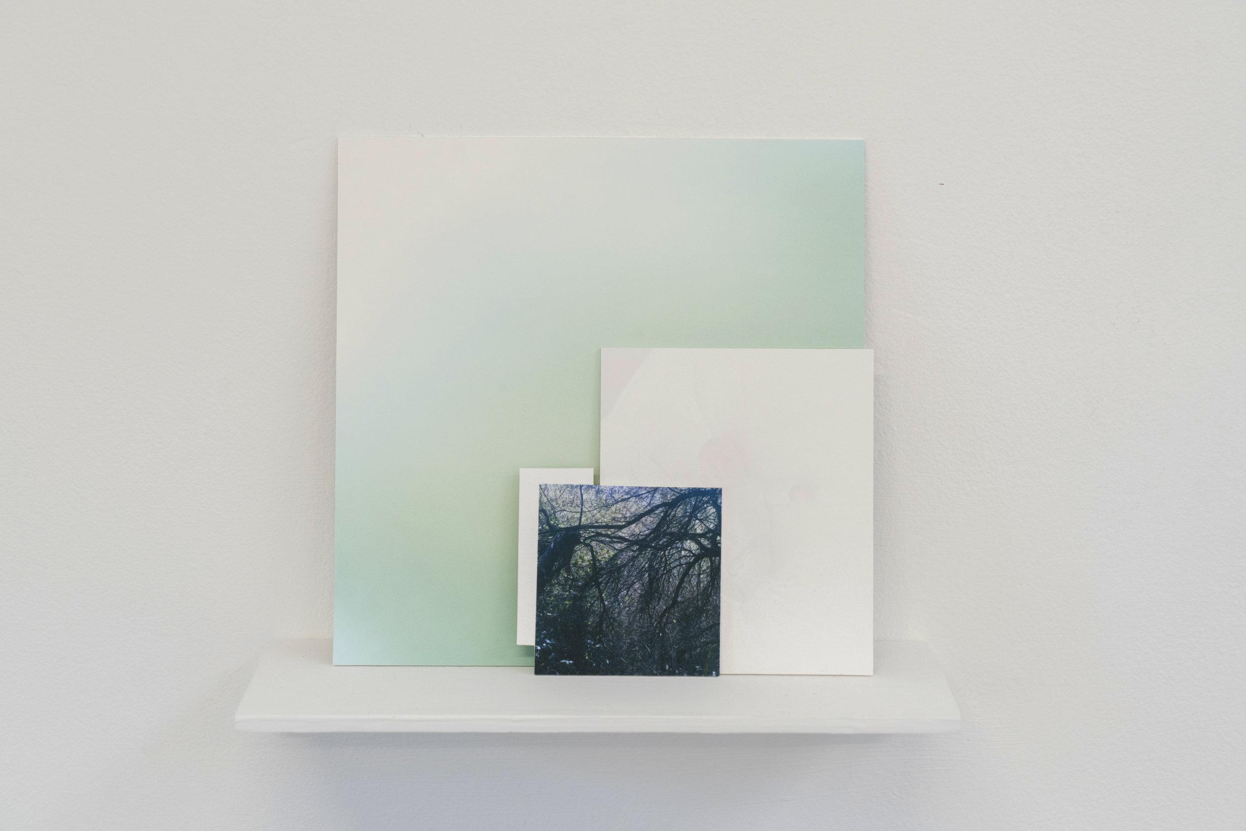 Elizabeth Bernstein,  Something broke…,  2017, Archival pigment print, aluminum, wood, 10 x 8 x 3 inches.