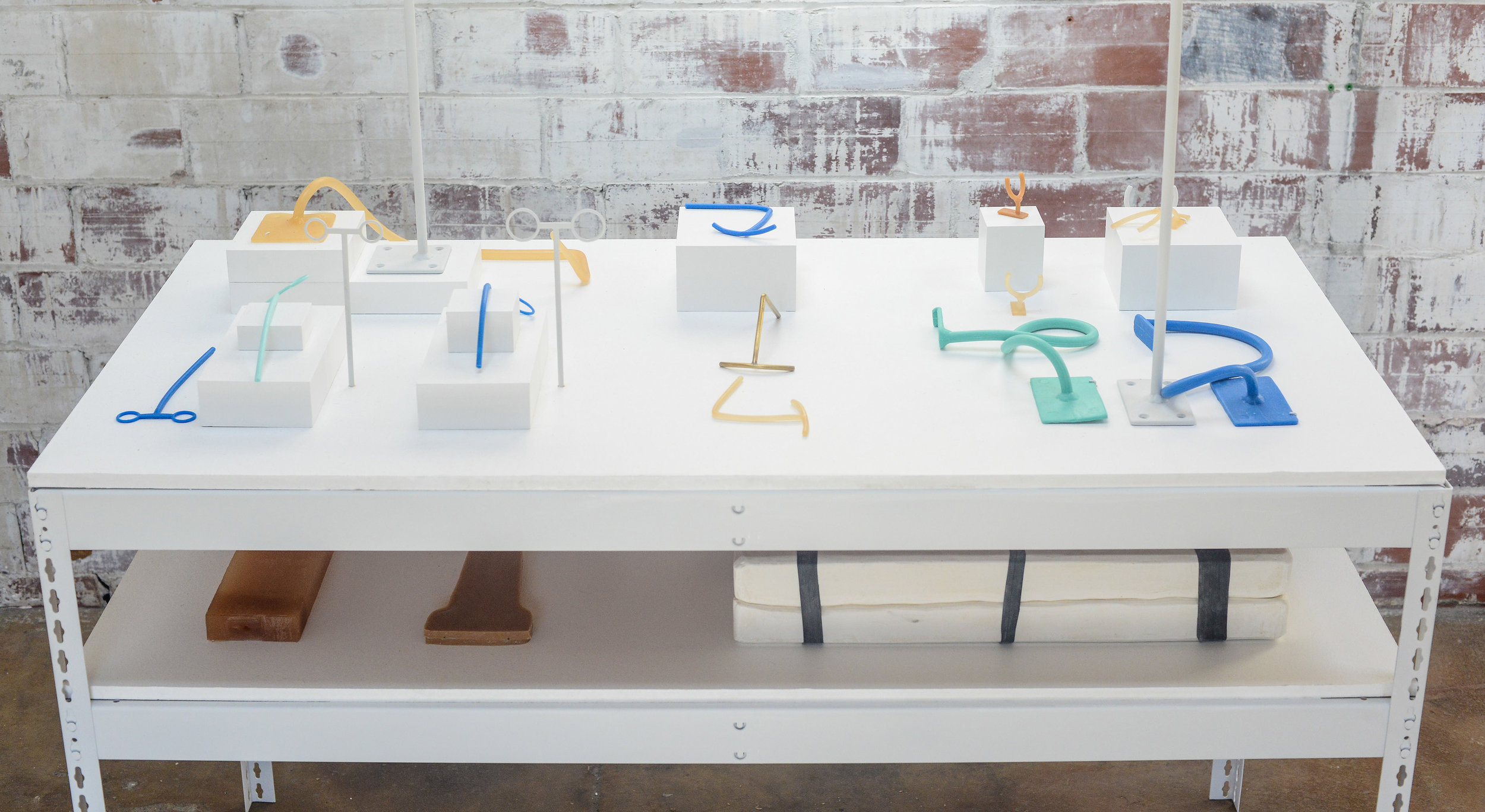 Dana Hemenway, Untitled (Object Mounts), 2015. Silicone, urethane, plaster, brass and steel object mounts borrowed from the Oakland Museum of California, bolt-less storage shelf, wood.
