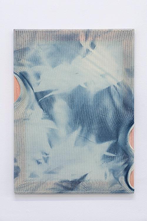 Gregory Kaplowitz,  Emanations,  2017  , Cyanotype emulsion, cotton porthole mesh, acrylic, and wood supports, 22 x16 x 1 inches.