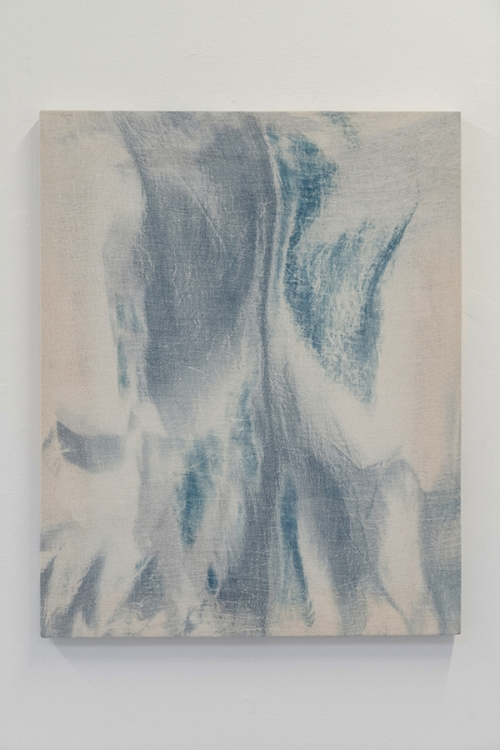 Gregory Kaplowitz,  Cemetery , 2015  , Cyanotype emulsion and spirits on cotton gauze over wood supports, 20 x16 x 1 inches.   .