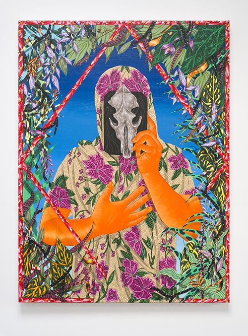 Amir H. Fallah,  Veneer , 2017. Acrylic on canvas. 40 × 30 inches.   Photo Credit: Phillip Maisel.