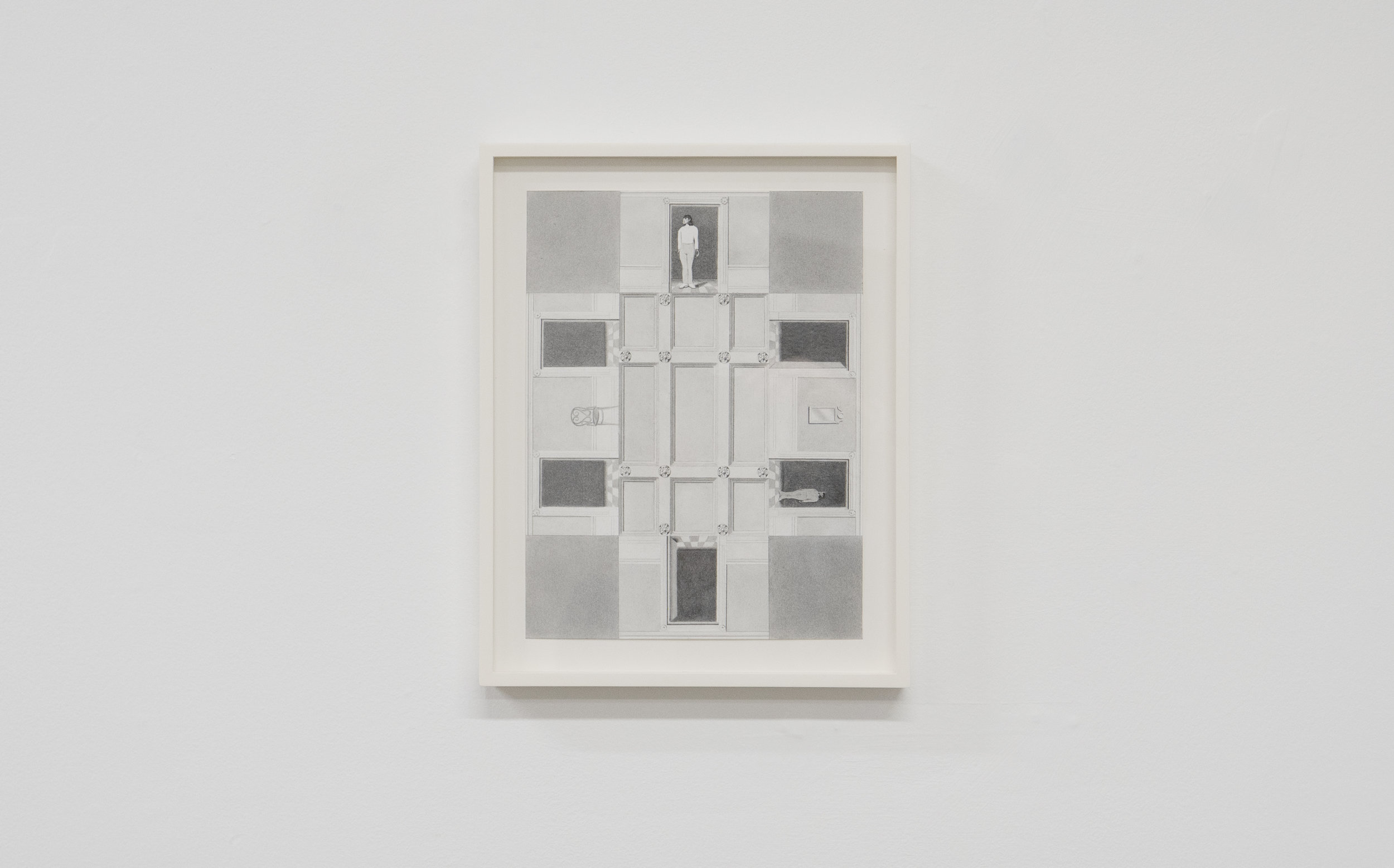 Milano Chow Ceiling Plan with Walls (Checkerboard) 2018 Graphite, ink, Flashe, and photo transfer on paper 12 × 9 in