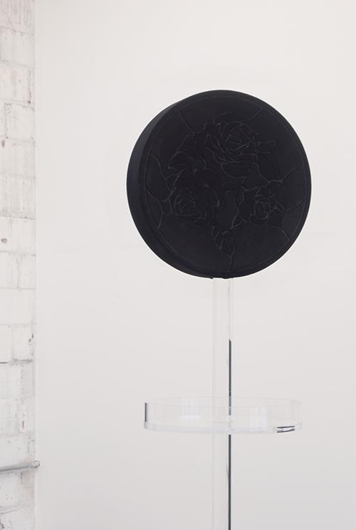 Amy Garofano Window (Stand), Detail 2018 Velvet, wood, acrylic 54 × 16 × 16 in