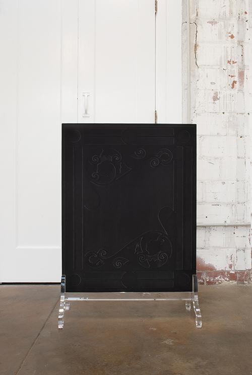Amy Garofano Window (Fire Screen), View 1 2018 Velvet, wood, acrylic 37.25 × 25.25 × 12.5 in