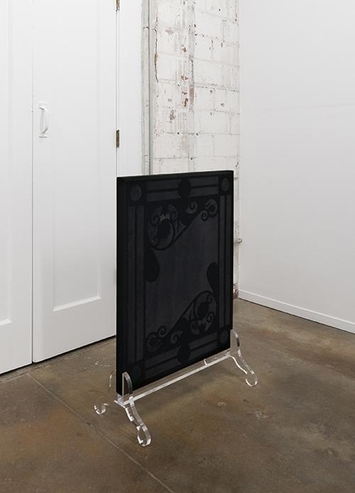 Amy Garofano Window (Fire Screen), View 2 2018 Velvet, wood, acrylic 37.25 × 25.25 × 12.5 in