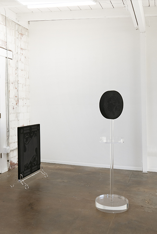 Amy Garofano Left: Wndow (Fire Screen) Right: Window (Stand) Both, 2018 Both, Velvet, wood, acrylic