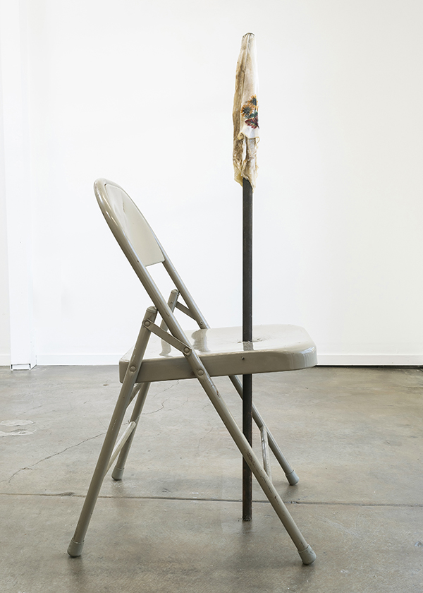 Bri Williams,  Scars that heal and don't fester , 2018. Metal fold chair, metal pole, handkerchief, soap. Interface Gallery. Photo credit: Phillip Maisel.