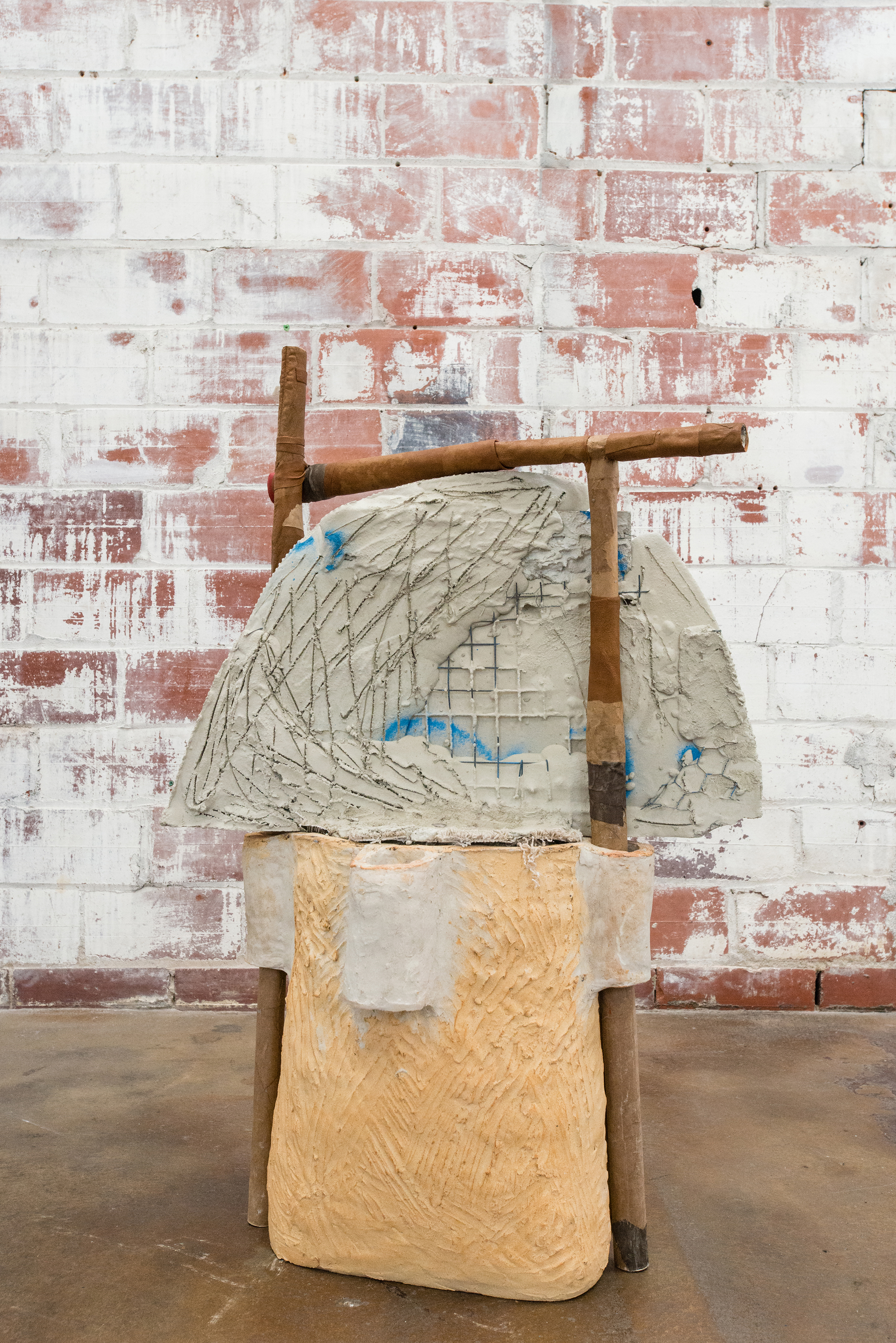 Sahar Khoury. Untitled (Cloud grid on ceramic base with four holes), 2018. Ceramic, cement, steel, rug, paper textile mache, acrylic.