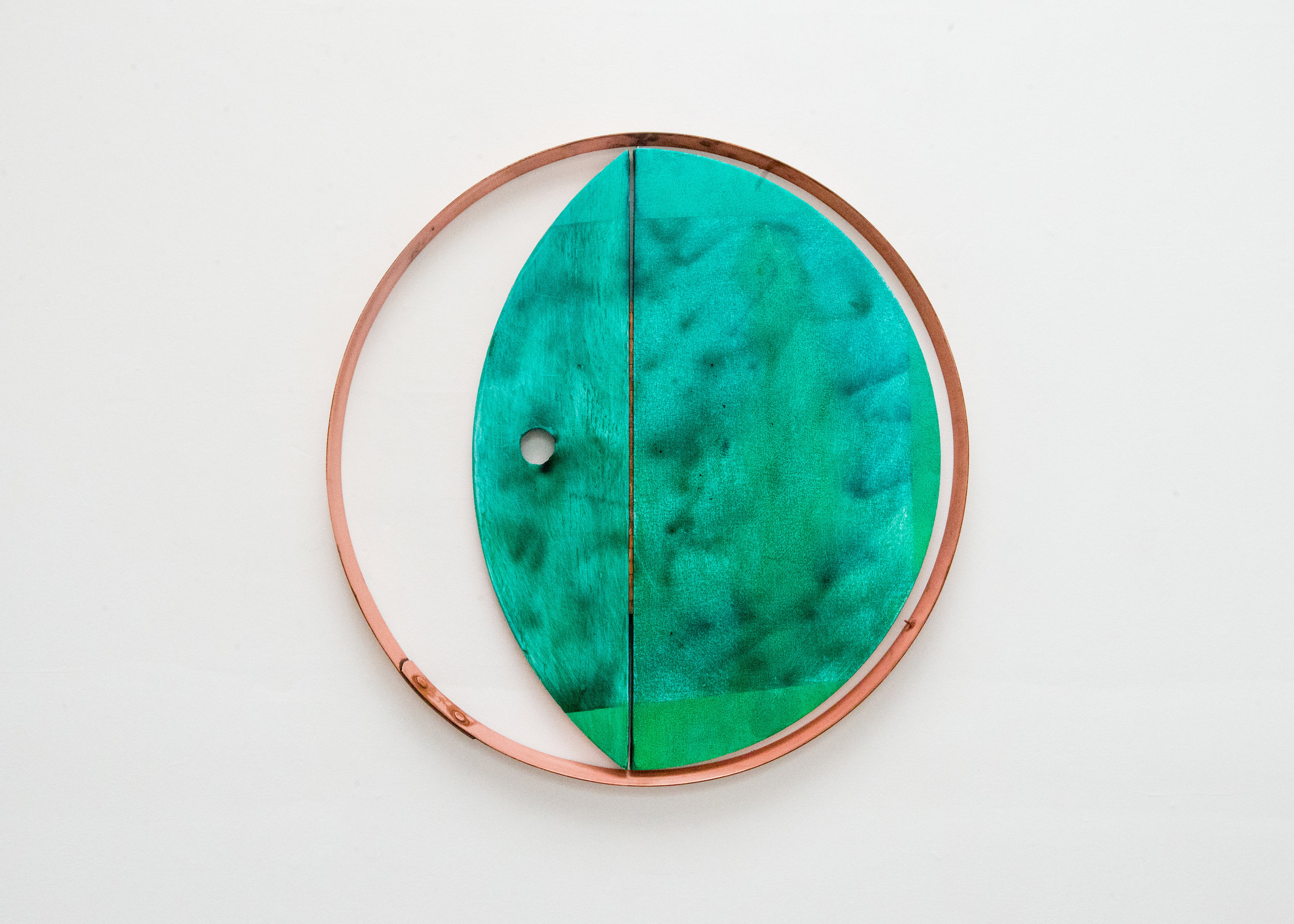 Lana Williams,  Waxing Waning , 2018. Acrylic, oil, oil stick, smoke pigment, copper plated steel. 24.5 x 24.5 inches.