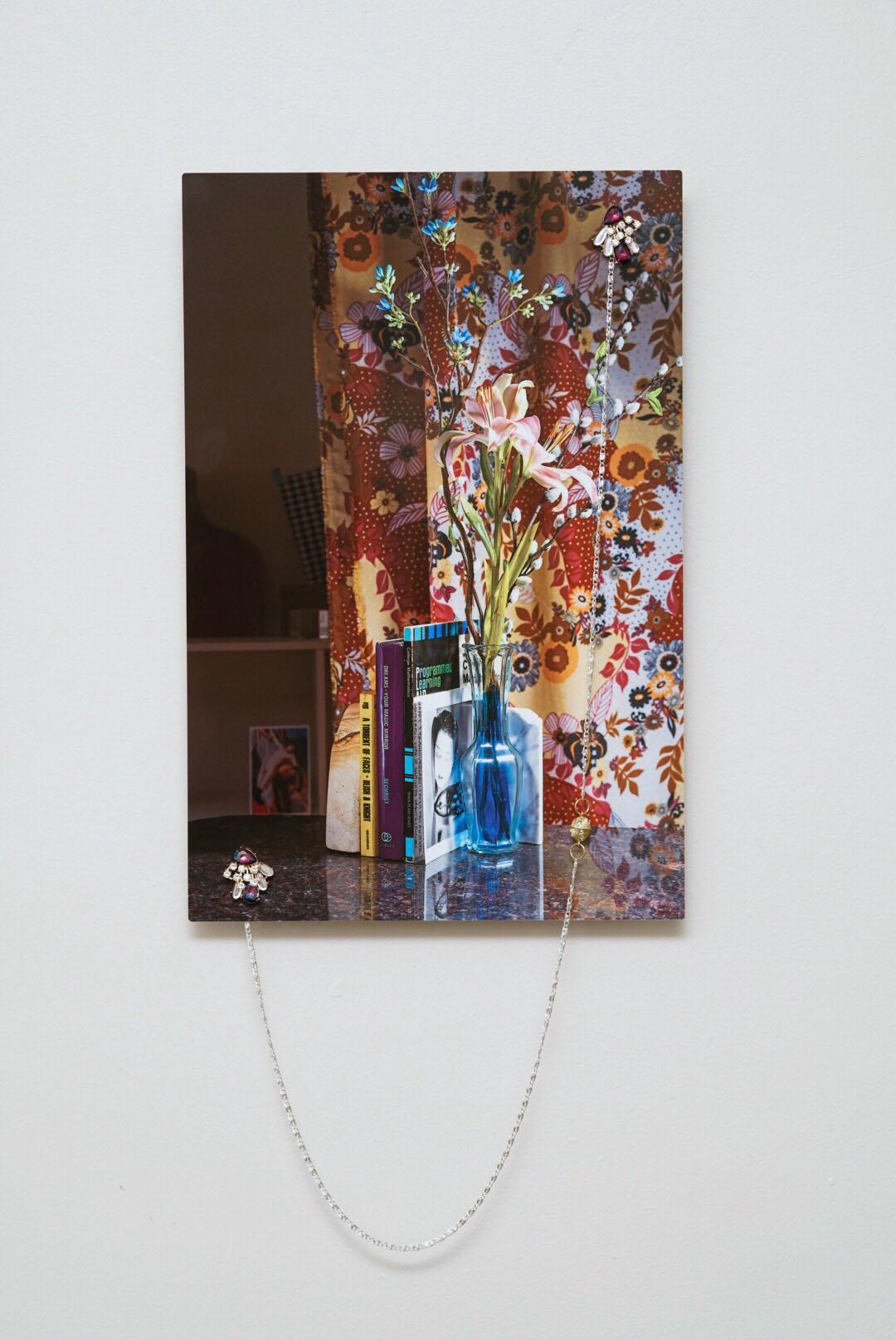 Nando Alvarez Perez,  Man Ray Jesus Juvenilia,  2019.  Available at our Online Auction. UV print on aluminum, jewelry. 12 x 20 x 2 inches
