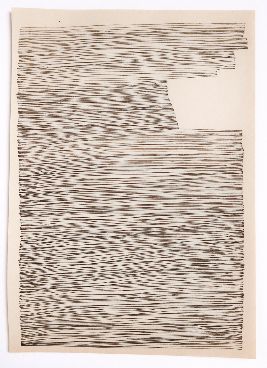 Amy Rathbone, untitled 2d (not knowing is nearest), 2019. ink on book paper. 5 x 7 inches..