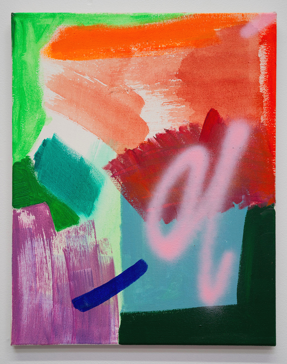 Bonanza, Olé, 2018. Acrylic and spray paint on canvas. 20 x 16 inches.