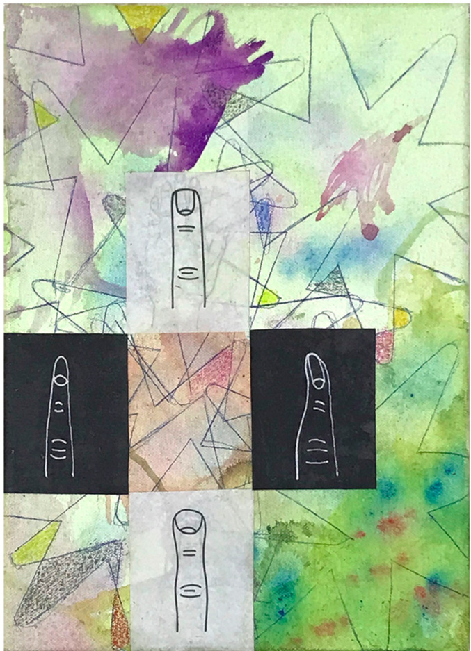 Ben Quinn,  Magic Finger , 2017. Available at our Online Auction. Watercolor, Ballpoint Pen, and Collage on Canvas with UV Varnish 8 x 11 inches