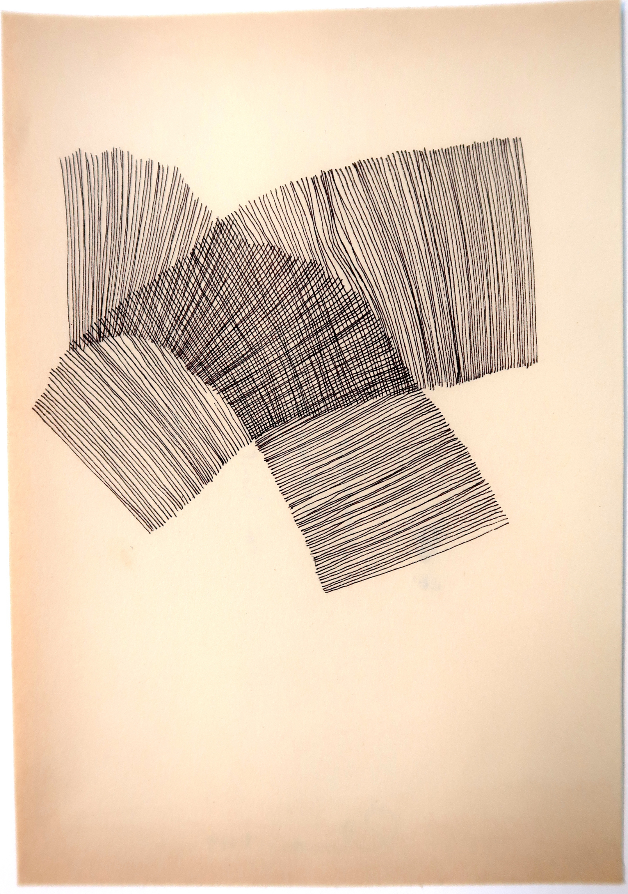 Amy Rathbone, untitled 1a (not knowing is nearest), 2019. ink on book paper. 5 x 7 inches..