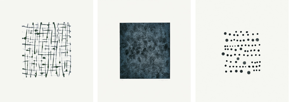 """Laurie Reid,  Elements , 2000. (Triptych) Set of three spit bite and color soap ground aquatints with aquatint. Image size: 10 x 9""""; paper size: 18½ x 17"""".  Published by Crown Point Press and printed by Rachel Fuller.  This is the Artist Proof from a sold out edition of 10."""