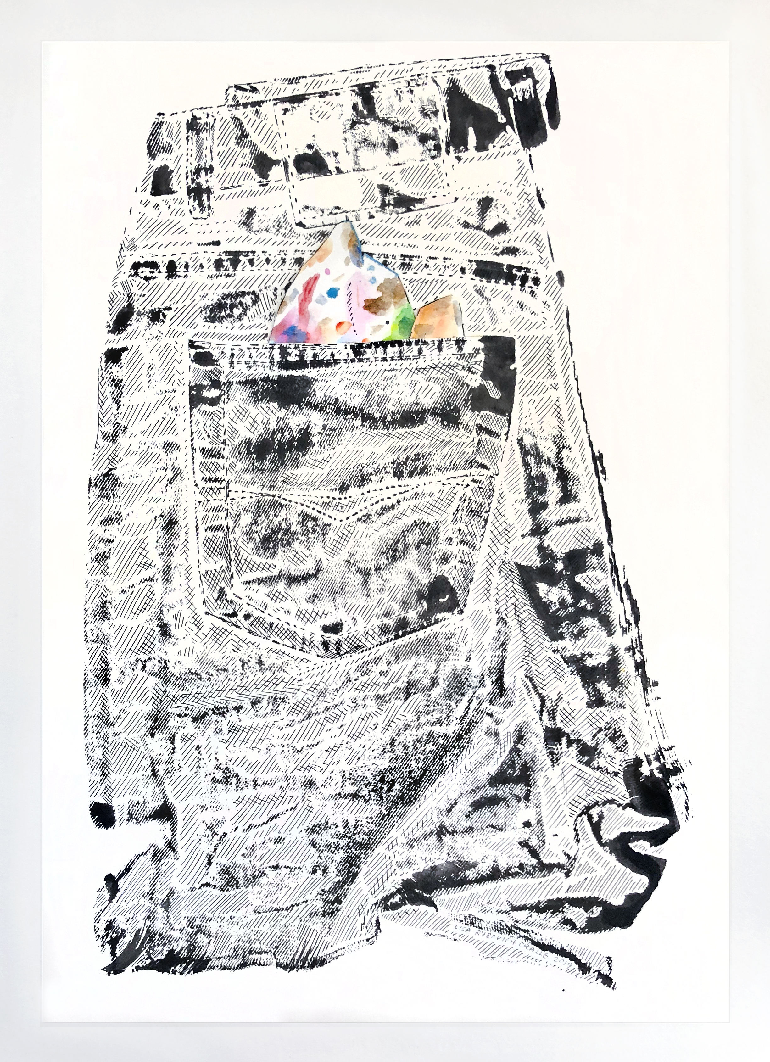 Lisa Rybovich Crallé, Pocket #4, 2019. Ink, acrylic, and collage on paper