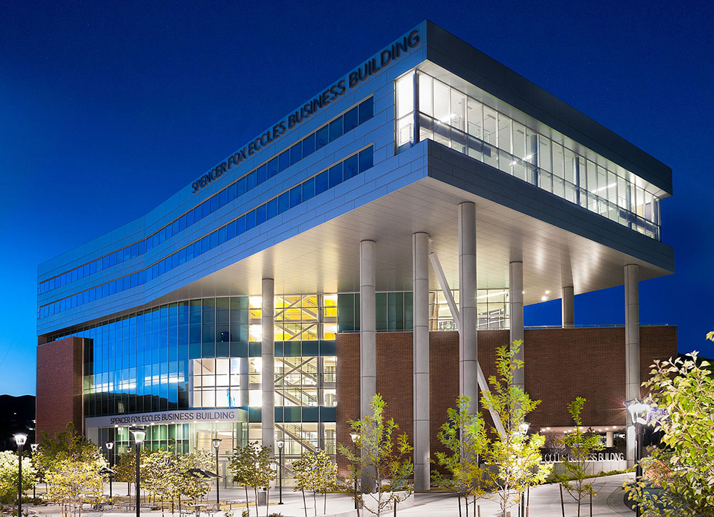 Located in the heart of the University of Utah campus, the Spencer Fox Eccles Business Building boasts sweeping views.
