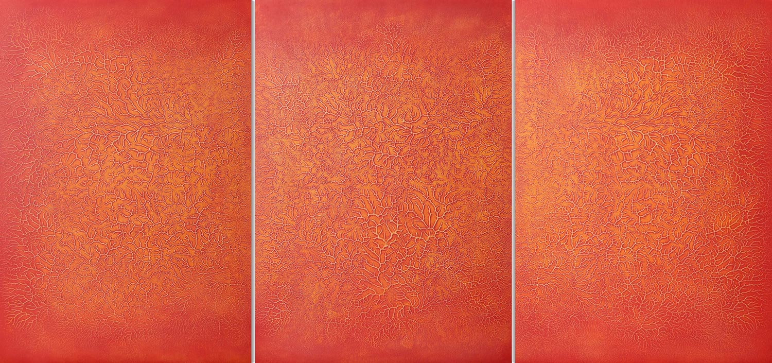 """Essence""   acrylic on wood panel (triptych) 40.5"" x 86.625"" (103cm x 220cm)"
