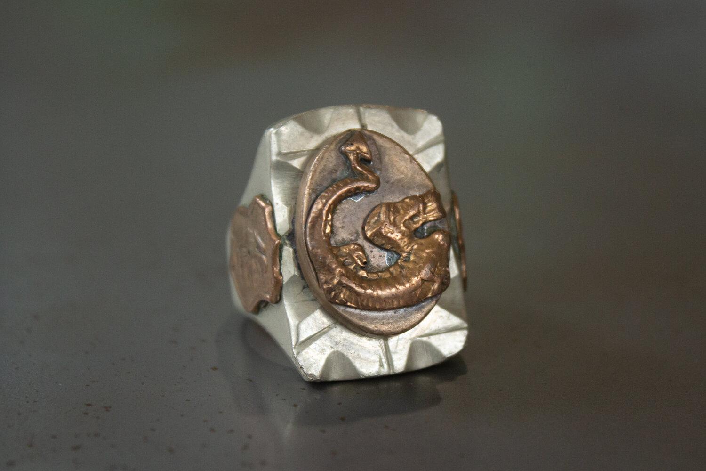 Huge Fire Breathing Dragon Mexican Biker Ring Size-10.5