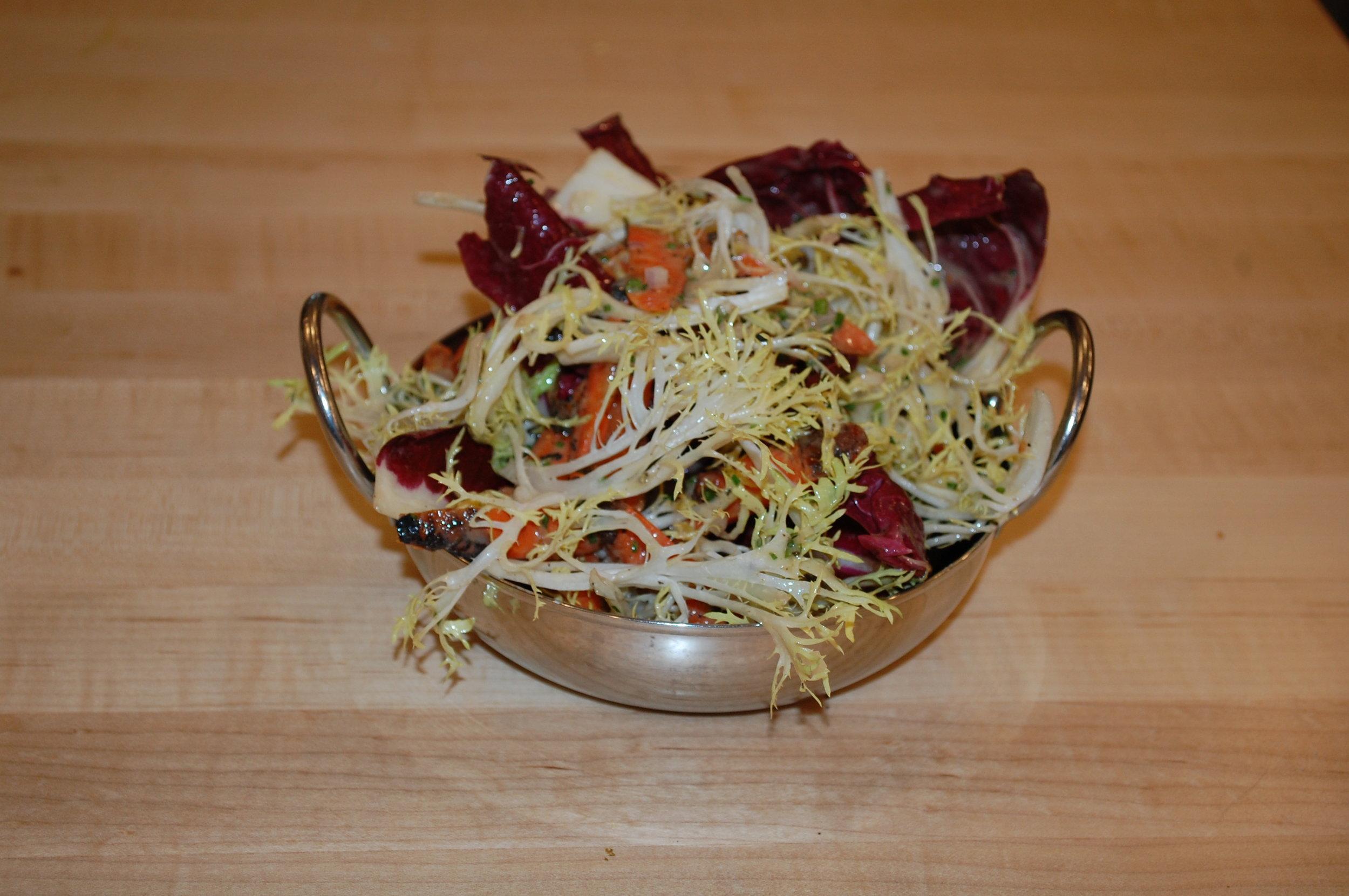 Local Roots Winter Greens, Charred Carrot, Sesame Blood Orange Vinaigrette
