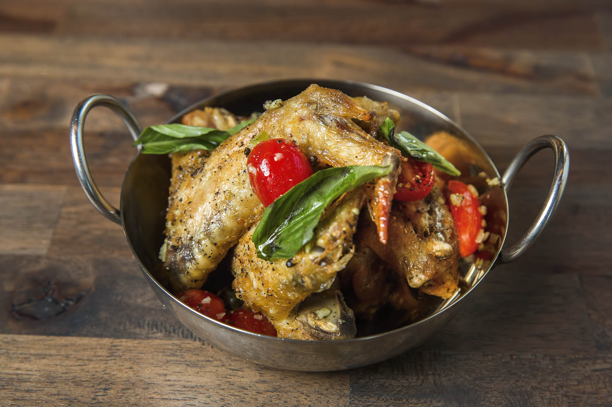 Confit Chicken Wings, Basil, Chilies, fish sauce