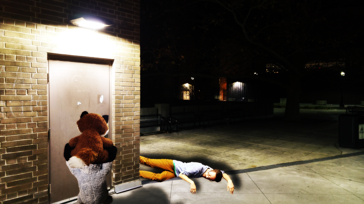 Title:  Let Us In  About:  The stuffed animals try to open the door nearby an unconscious Grant.