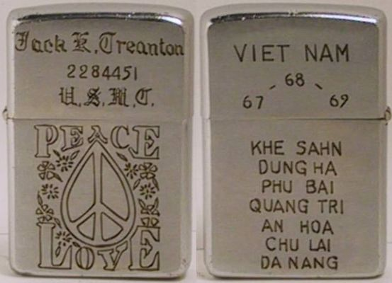 In-field engraved 1968 Zippo belonging to Jack Treanton, USMC,  who apparently served1967-69 in Khe Sanh, Dung Ha, Phu Bai, Quang Tri, An Hoa, Chu Lai and Da Nang