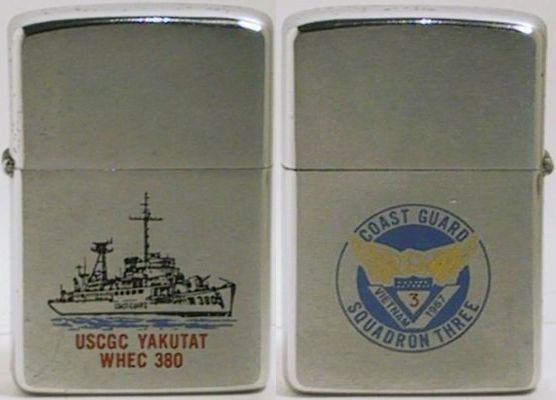 1968 factory-engraved Zippo for USGC Yakutat WHEC 380 of Coast Guard Squadron Three, a high-endurance cutter which eventually was turned over to the South Vietnamese Navy.