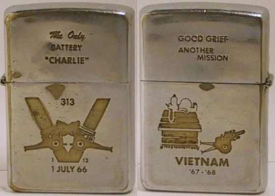 "This 1969 Zippo with Snoopy's ""Good Grief Another Mission"" is for Charlie Battery, 1st Battalion, 13th Marines, which fought intense battles in Khe Sanh in 1968."