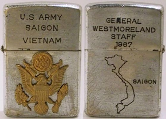 1967 Zippo. General Westmoreland took command in Vietnam in June 1964.  He was   instrumental in raising the level of US forces deployed in Vietnam and in developing the strategies implemented in the region. Westmoreland continuously requested for an increase in manpower in Vietnam and President Johnson, who had his own troubles at home, refused to send more troops and finally recalled him after he successfully stopped the North Vietnamese Tet Offensive in 1968. He was replaced by General Creighton W. Abrams.