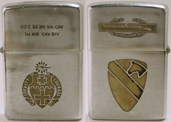 "The lid of this 1968 Zippo is engraved with the parachutist and ""Airborne"" logos.  The reverse is engraved ""173rd Airborne Brigade Vietnam 1968 1969"""