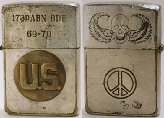 "1969 Zippo is engraved ""173rd ABN BDE 69-70"" for the 173rd Airborne Brigade and has an attached ""US"" badge.  The reverse is engraved with a parachutist logo and a peace sign"