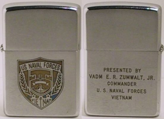 "19 68 Zippo, presentation lighter by Vice Admiral E.(Elmo) R. Zumwalt, Jr. Commander of US Naval Forces in Vietnam. Zumwalt conceived the""Brown-Water Navy,""  He is also remembered as the man who introduced the use of ""Agent Orange"" the powerful chemical defoliant to strip away the jungle growth concealing the enemy. The toxic substances became the source of illnesses for many Veterans, including Zumwalt's own son"