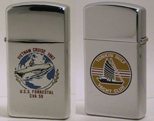 1968 slim Zippo for USS Forrestal CVA 59, an aircraft carrier.  While on tour in 1967, a missile was fired accidentally, causing a tragic fire which killed 134 service men and destroying numerous aircraft.