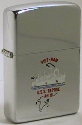 "Here is a 1969 high-polish Zippo with the engraving of USS Repose on the outline of Vietnam.  The hospital ship, known as ""The Angel of the Orient"" served in Vietnam from 1966-70"