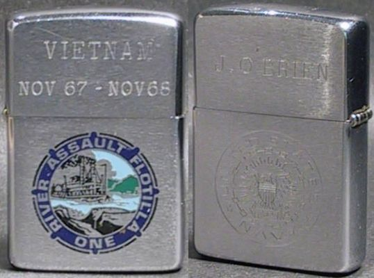 The River Assault Flotilla One (RivFlotOne) operated ships for providing command facilities and communications, resupply, repairs, housing and food for both Army and Navy personnel of the Joint Mobile Riverine Force.  This 1967 Zippo has also been engraved with a US Navy logo and the name of J. O'Brien on the reverse