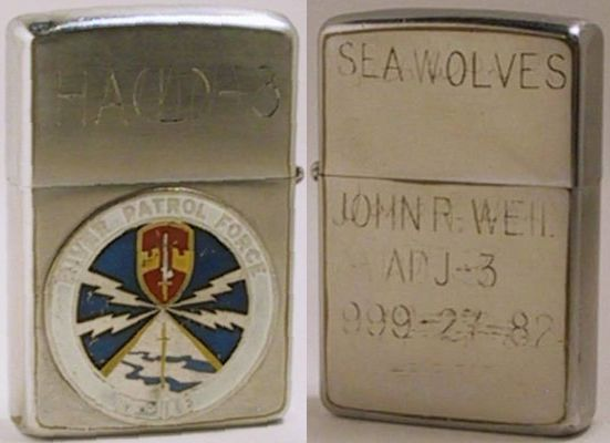"1967 Zippo.  The lid is engraved with ""HA(L)-3"" (Helicopter Attack (Light) Squadron - 3) with responsibility for providing Task Force 116 with aerial fire support, observation , and medical evacuation).  The reverse is engraved ""Seawolves"" and  ""John R. Weil ADJ-3 999-27-82"""